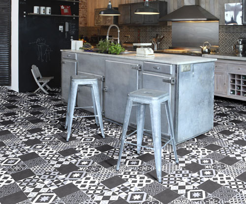 Polyflor black and white pattern style vinyl floor